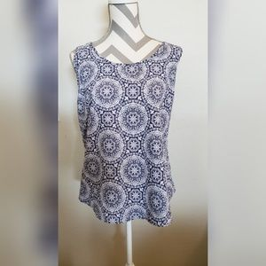 Faded Glory Tops - Faded Glory plus size blue & white tank top